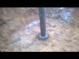 Установка жб стакана на кессон для скважины
