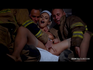 [1080] Tina Kays gang bang with 3 firefighters gb gangbang creampie cum inside dp double penetration group orgy двойное