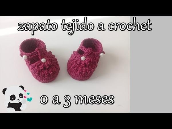 Zapatito tejido a crochet 0 a 3 meses -bebe - flor pop corn-