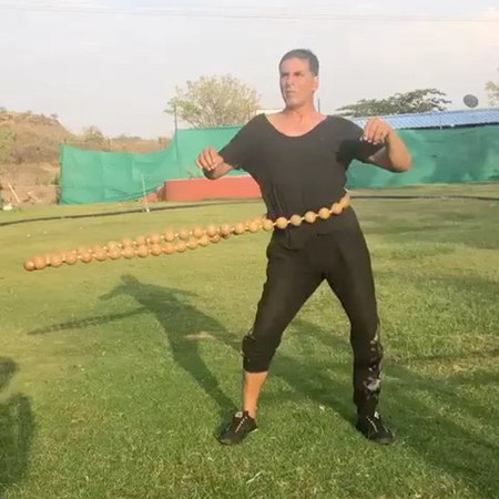 "Akshay Kumar on Instagram: ""Core training my way through the summer heat with these wooden beads...great for the back and stomach muscles. Also bes..."