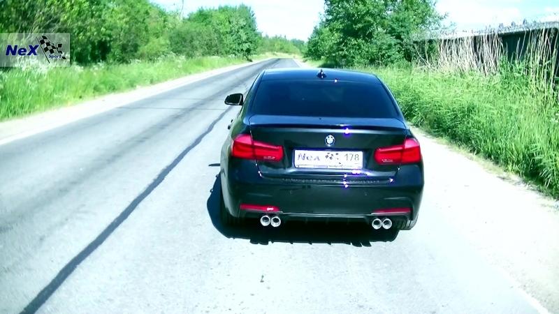NeX® BMW 320 F30 в M3 ЭКСКЛЮЗИВ Глушитель раздвоенный 4 насадки 76 мм Накладка M Performance ТЮНИНГ пакет