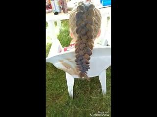 синяя пятипрядная коса