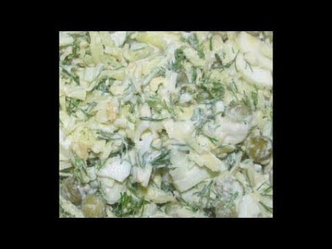 Капустный салат с плавленым сыром и яйцом