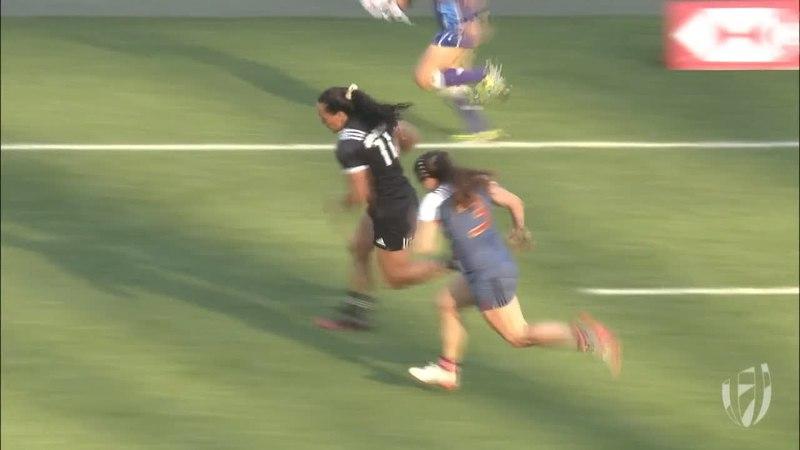 New Zealand speedster Portia Woodman scores amazing try!