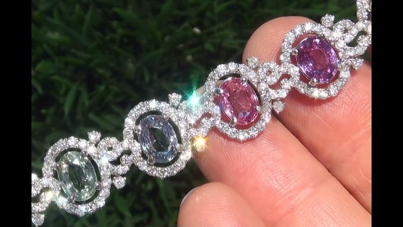 GIA Certified Padparadscha Multi-Color Fancy Sapphire Diamond Bracelet 21.79 TCW - C535