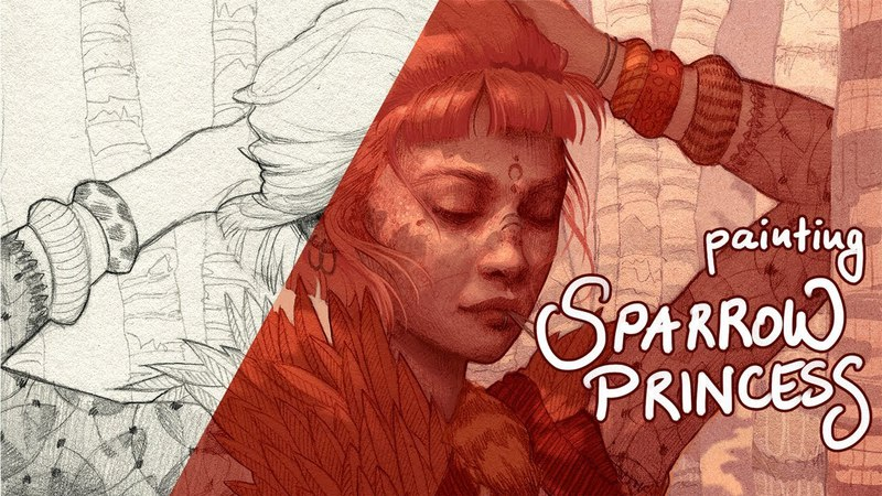 Painting SPARROW PRINCESS - Timelapse, thoughts process