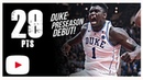 Zion Williamson Duke vs Ryerson Full Highlights 8 15 18 29 Pts 13 Rebs Preseason Debut