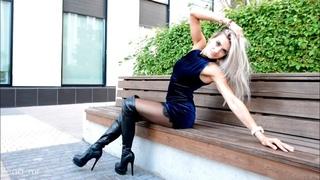 Mini Dress Pantyhose in overknee boots and mini skirt platform high heels