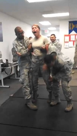 Female Soldier Tasered Grabs Privates Privates