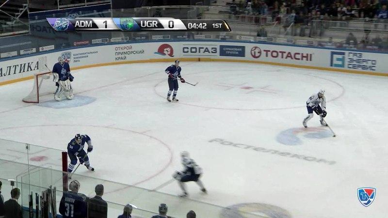 Моменты из матчей КХЛ сезона 1415 • Удаление. Лисов Никита (Адмирал) удален на 2 минкты за подножку 04.12