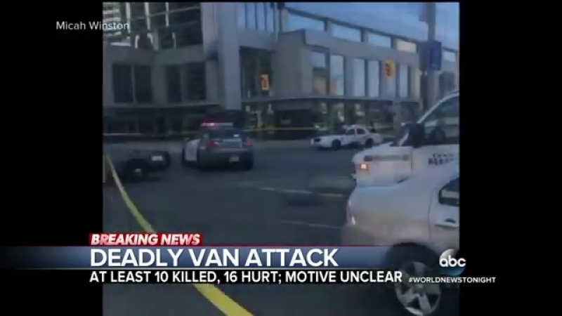 ABC News - 9 dead, more than 12 wounded after van jumps curb: Police