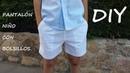 Pantalón niño con bolsillos. Como hacer un pantalón de niño.