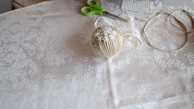 1.Как сделать шары с жгутом.Tutorial decorazioni - Palline shabby