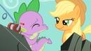 Spike - Spike kissing Applejack - Hoho there, lover boy.