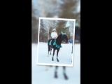 Конная прогулка по зимнему парку на черной Молнии 17.02.2018г.