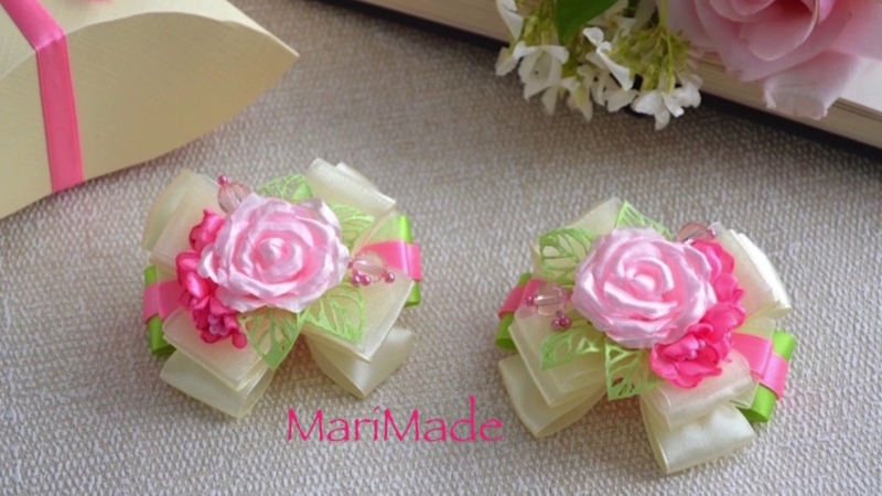 Канзаши Бантики Резинки Розы Цветы из Лент МК Kanzashi Bows Roses