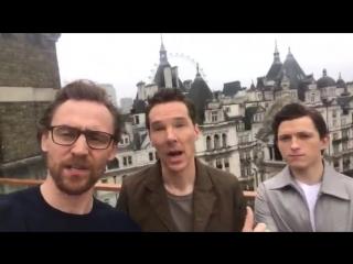 We loved having @Avengers InfinityWar stars @twhiddleston, Benedict Cumberbatch, and @TomH