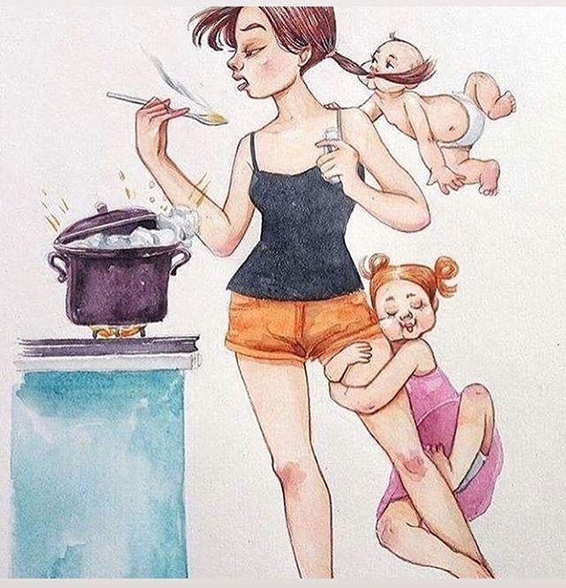 Прикольные картинки про детей и мама в декрете
