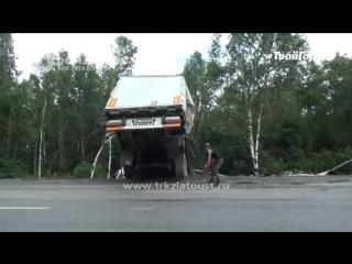 Фура улетела в кювет на трассе М-5 (12.07.18)