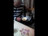 Кот ест с ложки