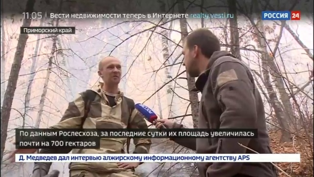 Новости на Россия 24 • В Приморье площадь природных пожаров выросла почти на 700 гектаров