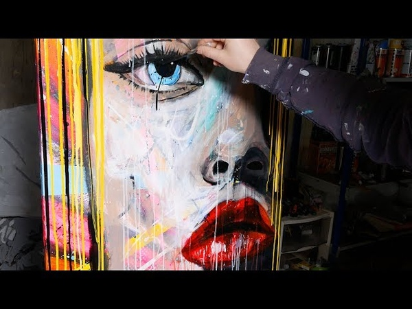 How To Paint Pop Art Painting with Abstract Painting Background | Lola