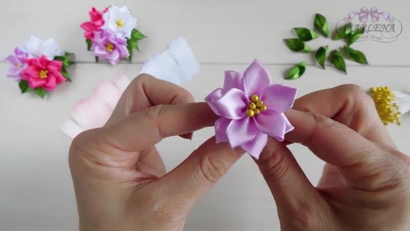 🌺 Цветы из узких лент. Зажимы с тройным цветком. Канзаши МК-DIY
