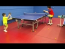 Ping Pong table tennis-6 years old boy in practice