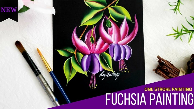 Quick and Easy Fuchsia Flower | Filbert Brush Painting | One stroke painting | DIY