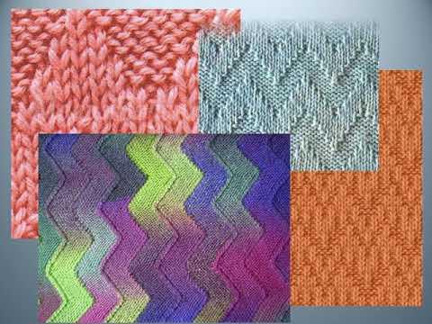 Рельефные зигзаги и волны спицами со схемами Knitting Knitted Diy