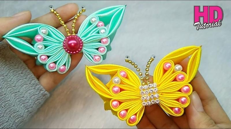 DIY    bros kupu-kupu part 2       Butterfly    how to make satin ribbon flower    HD TUTORIAL