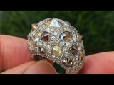 Estate Natural Fancy Color Diamond Cocktail 18k White &amp Black Gold Art Deco Ring - C388