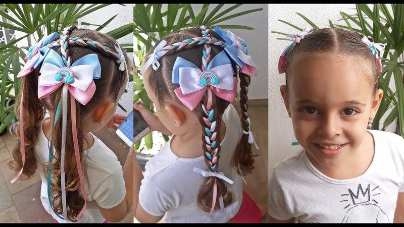 Penteado Infantil de Festa Junina com fitas e tranças