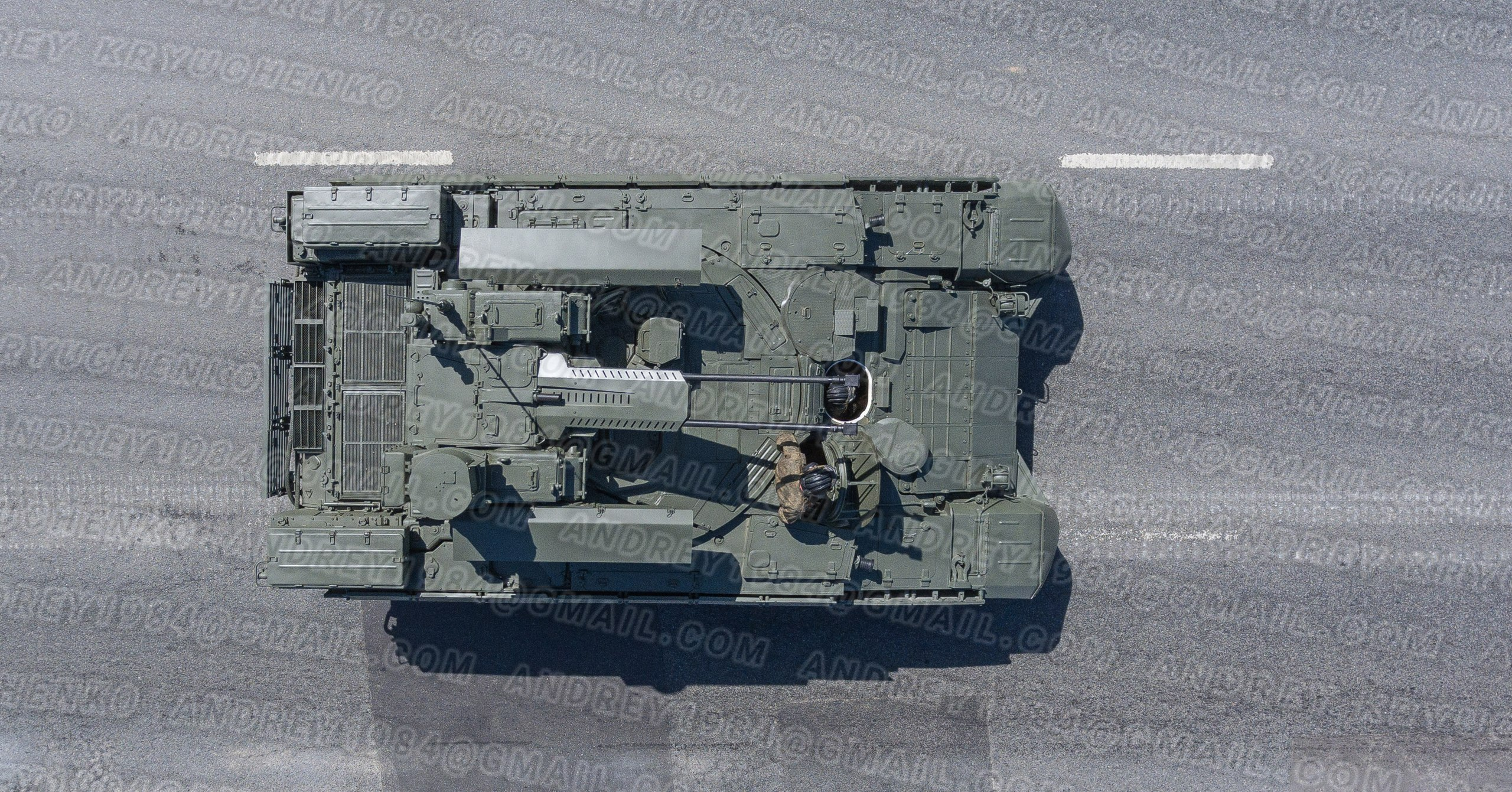"Moscow, May 9, 2018. Tank fire support armoured fighting vehicle BMPT ""Terminator"" returns from the Red Square after the Victory Day Parade, from above."