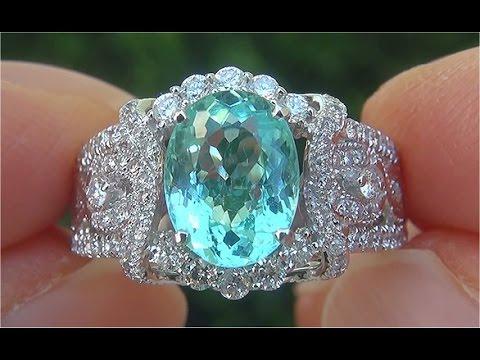 GIA Certified VVS Copper Manganese Bearing Natural Paraiba Tourmaline Diamond Ring C906