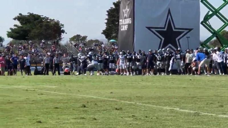 Ezekiel Elliott vs Joe Thomas CowboysCamp Day 4
