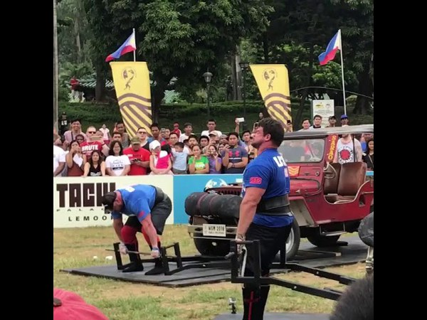 JF Caron vs Martins Licis Vehicle Deadlift - WSM 2018 FINALS