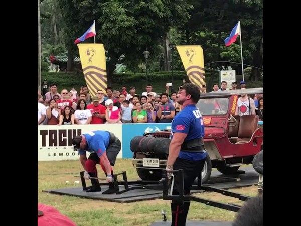 JF Caron vs Martins Licis Vehicle Deadlift - WSM 2018 FINALS