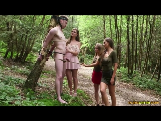 Carmel anderson, honour may and tina kay - stag tree prank [blowjob, cfnm]