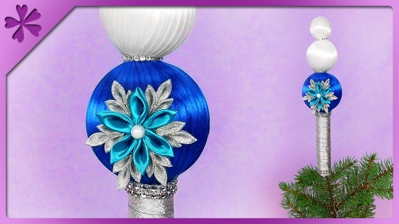 DIY Christmas tree topper made out of styrofoam balls and ribbon (ENG Subtitles) - Speed up 541