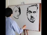 Художник, который рисует 2 портрета одновременно