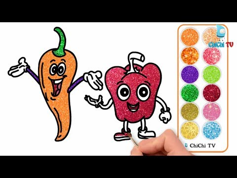 How to Draw Glitter Fruit Chili cartoon with Colored Markers Glitter Chili cartoon Coloring Pages
