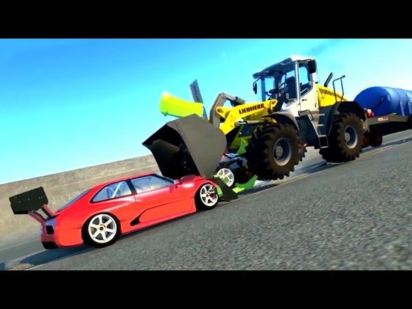 Долбаем машинки в BeamNG Drive, мощные аварии, грузовики, полицейские, спортивные тачки YTFMM 2