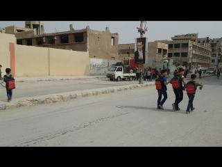 Children leaving school in Ayn Tarma, East Ghouta, Syria