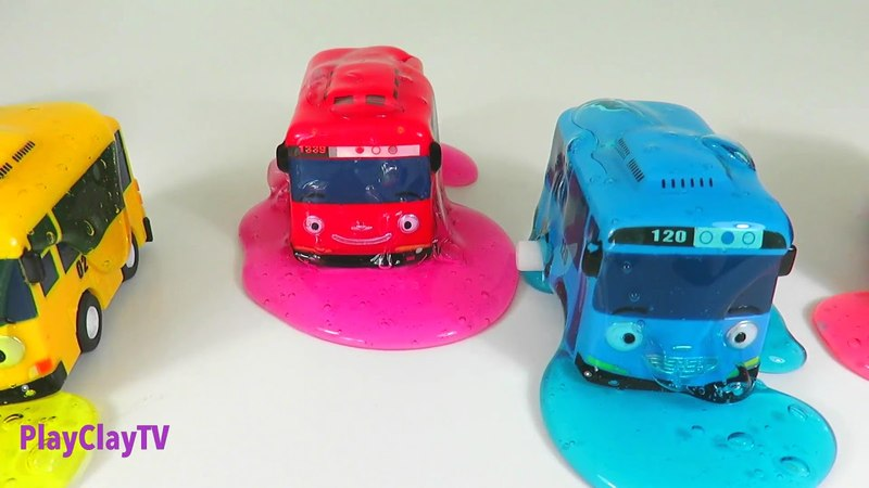 Learn colors with The Little Bus Tayo toys and colorful slime