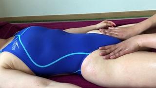 crotch Massage ASMR with blue swimsuit girl