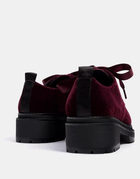 Туфли из бархата на платформе