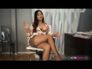 Asian girl in tan pantyhose