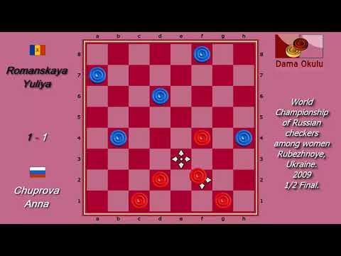 Chuprova Anna (RUS) - Romanskaya Yuliya (MDA). World Draughts-64_women-2009. Semifinal.