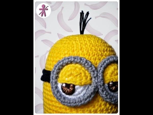 Minion 's eye , step by step crochet fabric